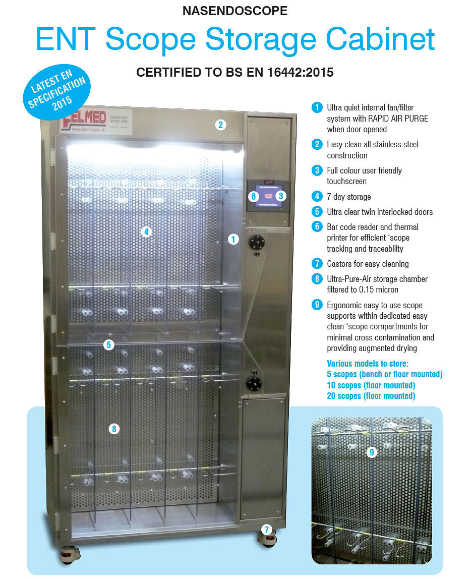 ENT Scope Storage Cabinet, with rapid air purge. Easy to clean and user friendly